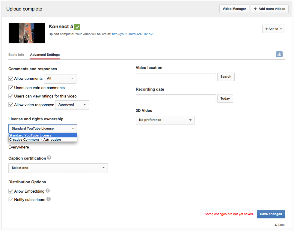 YouTube Upload - Advanced Settings