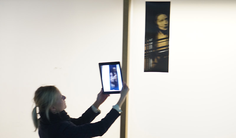 A 'tag' triggering a video sequence in an Augmented Reality tablet application