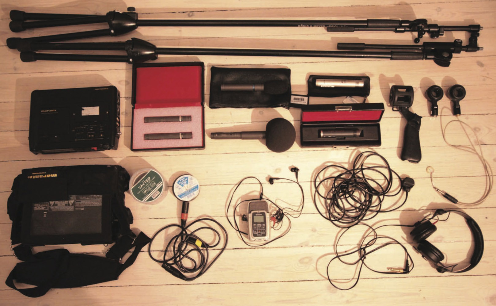 A selection of the recording equipment used according to the type of the sound.