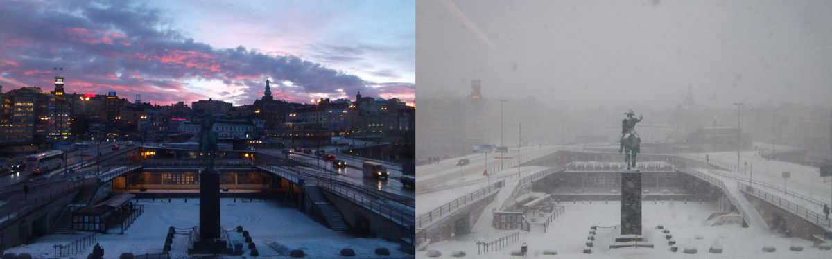 The view of Slussen from my office window.