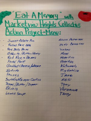 Eat a Memory with Marketview Height Collective Action Project Menu.