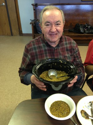 Tony with his lentil soup